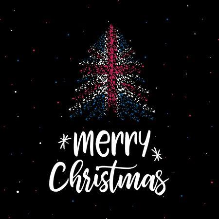 Merry Christmas and Christmas tree with UK flag Illustration