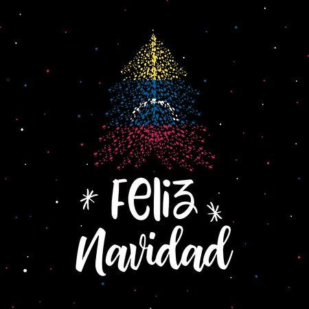 Merry Christmas  and Christmas tree with Venezuela flag Ilustração