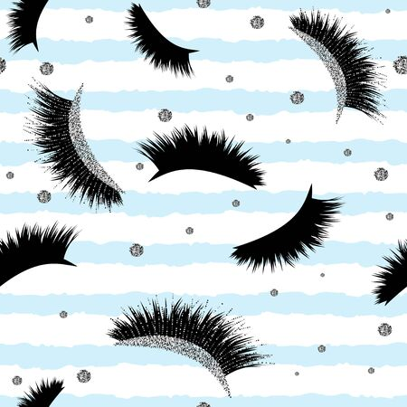 Seamless Vector Pattern with Lashes and glitter effect 写真素材 - 133331702