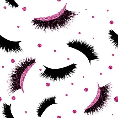 Seamless Vector Pattern with Lashes and glitter effect