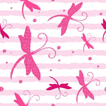 Vector Seamless Pattern with Dragonfly and glitter effect.Perfect for postcards, greeting cards, wedding invitations Ilustração