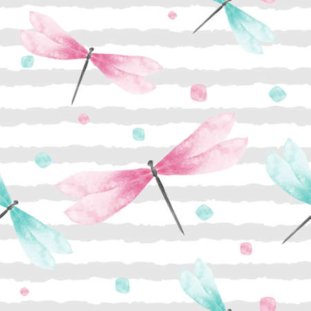 Vector Seamless Pattern with Watercolor Dragonfly .Perfect for postcards, greeting cards, wedding invitations  イラスト・ベクター素材