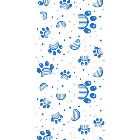 Paw print seamless vector pattern Border  イラスト・ベクター素材