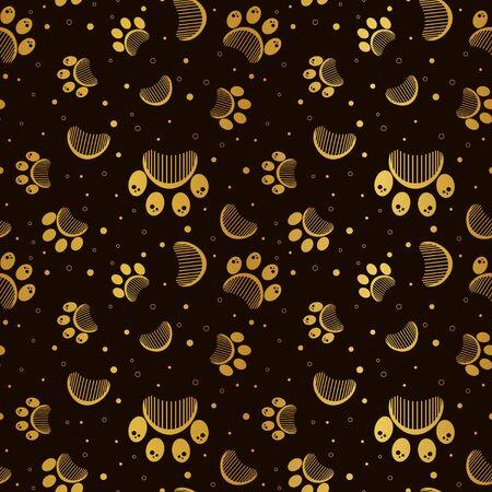Paw print seamless vector pattern 写真素材 - 133354976