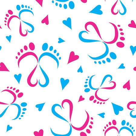 Seamless Vector Pattern of Baby Feet  and Hearts 写真素材 - 133354979