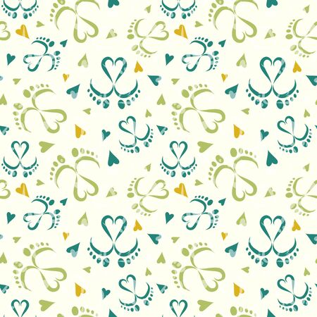 Seamless Vector Pattern of Baby Feet  and Hearts 写真素材 - 132863604