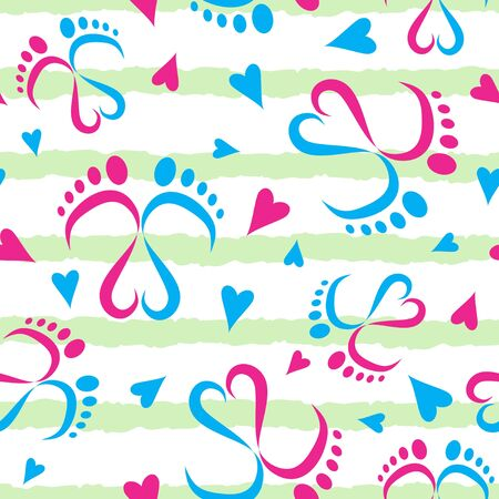 Seamless Vector Pattern of Baby Feet  and Hearts 写真素材 - 132863607