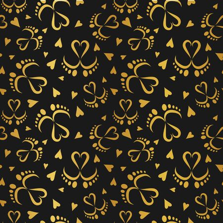 Seamless Vector Pattern of Baby Feet  and Hearts  イラスト・ベクター素材