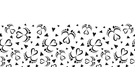 Seamless Vector Pattern Border of Baby Feet  and Hearts  イラスト・ベクター素材