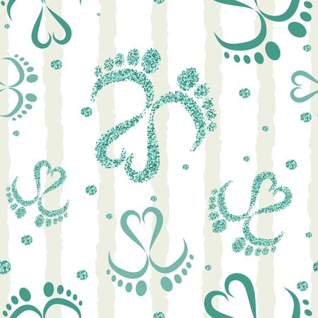 Seamless Vector Pattern of Baby Feet  and Heart with glitter 写真素材 - 132863638