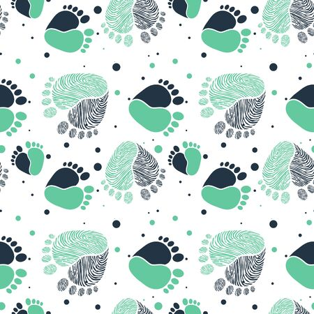 Seamless Vector Pattern with Baby Feet  and Heart 写真素材 - 132863646