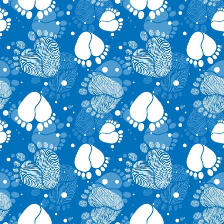 Seamless Vector Pattern with Baby Feet  and Heart