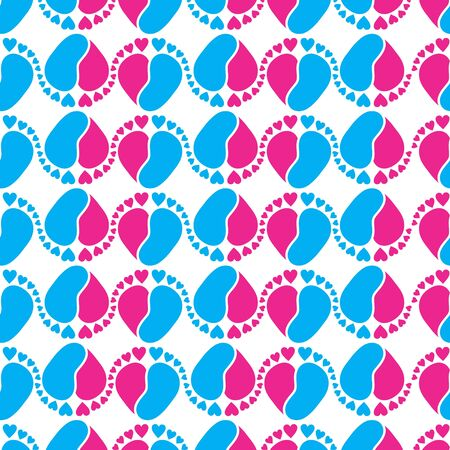Cute Seamless Vector Pattern with Baby Feet  and Heart