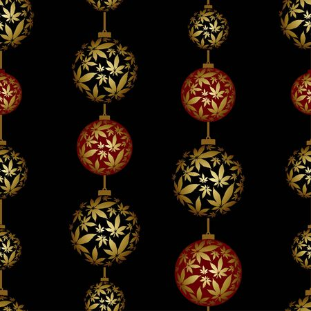 Christmas Ball  and Cannabis leaves seamless  vector pattern  イラスト・ベクター素材