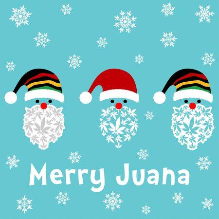 Rasta Santa Clause vector illustration with marijuana leaves