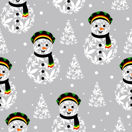 Rasta snowman vector illustration