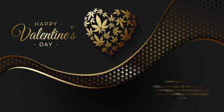 Happy Valentines day vector background with heart and cannabis leaves  イラスト・ベクター素材