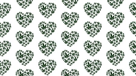 Heart with marijuana leaves seamless vector pattern  イラスト・ベクター素材