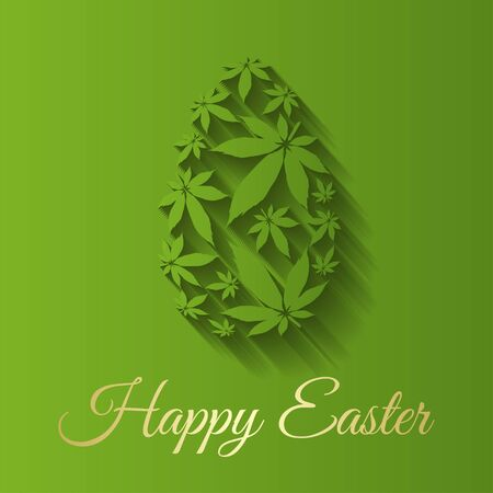 Easter egg with marijuana  leaves vector illustration