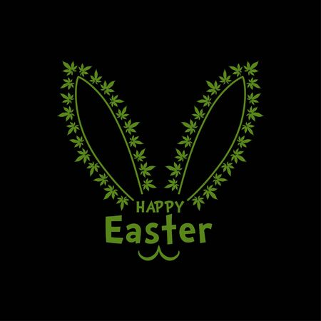 Easter bunny ears with marijuana  leaves vector illustration