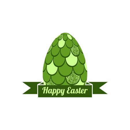Easter egg with  mermaid scales vector illustration.Happy Easter illustration with ribbon
