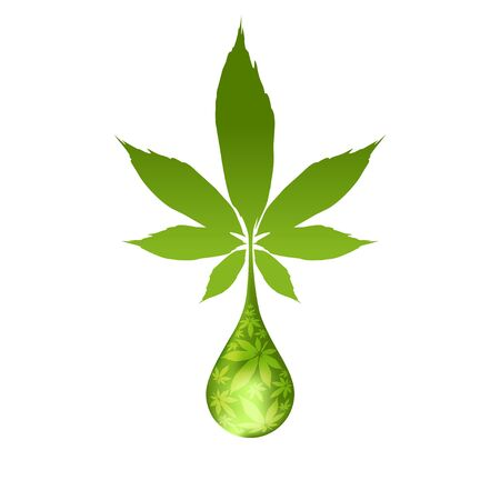 Cannabis droplet with cannabis leaves vector background