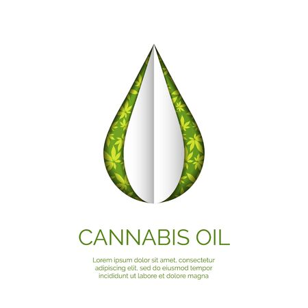Cannabis droplet with cannabis leaves paper cut vector background.Cannabis oil illustration 写真素材 - 142460336