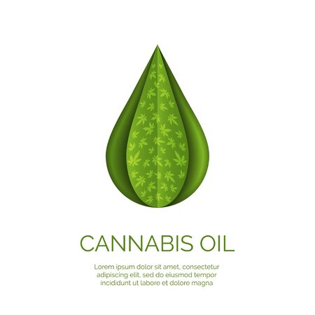 Cannabis droplet with cannabis leaves paper cut vector background.Cannabis oil illustration