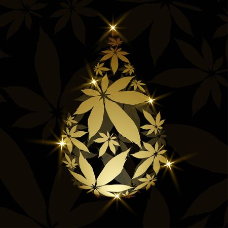 Cannabis droplet with cannabis leaves vector background.Cannabis oil illustration 写真素材