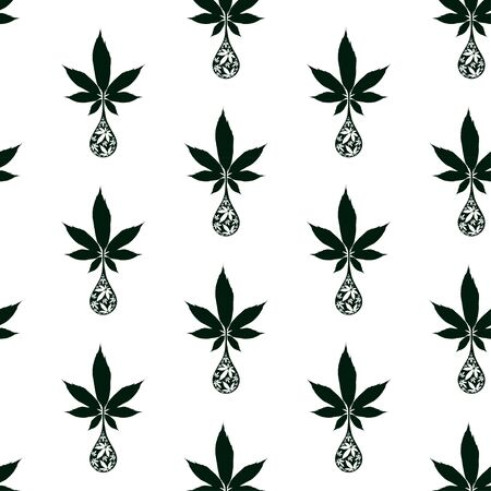 Cannabis oil drop seamless vector pattern