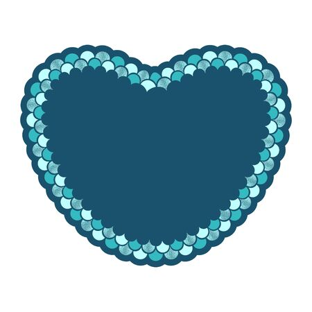 Heart with mermaid scales  vector illustration