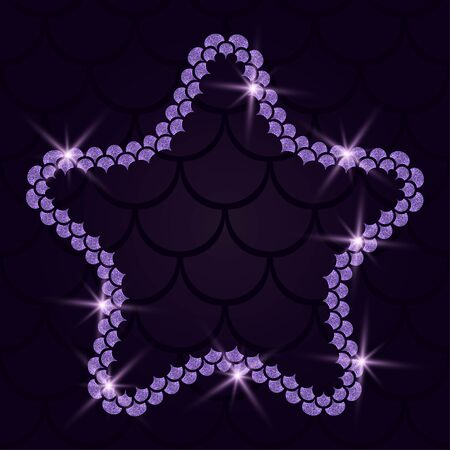 Star with mermaid scales and glitter lace frame illustration