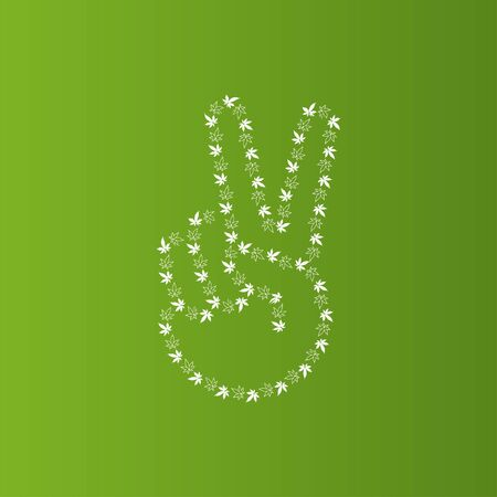 Peace sign with marijuana leaves vector illustration