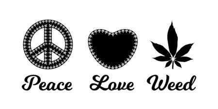 Peace,love,weed sign with marijuana leaves vector illustration