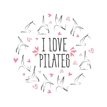 Pilates poses in shape of a circle.Ideal for greeting cards, wall decor, textile design and much more.