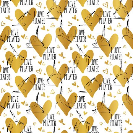 Pilates Poses and Heart Seamless Vector Pattern.Ideal for greeting cards, wall decor, textile design and much more.