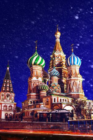 Saint Basils Church in night in winter with snow. Cathedral in Red Square. Temple in Moscow. Center of Moscow. Incredibly beautiful cathedral in Moscow. St Basil.