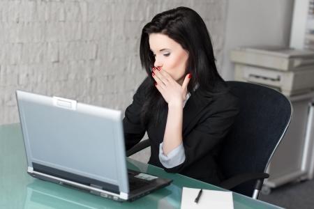 flirting: Woman flirting online at work