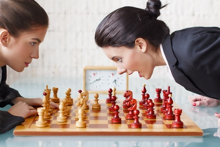 chess player: Young women playing chess, tactics, queen gambit