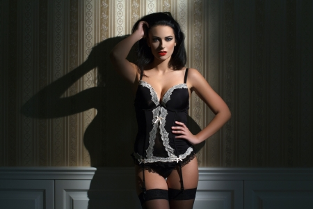 Sexy brunette model posing at night in corset photo