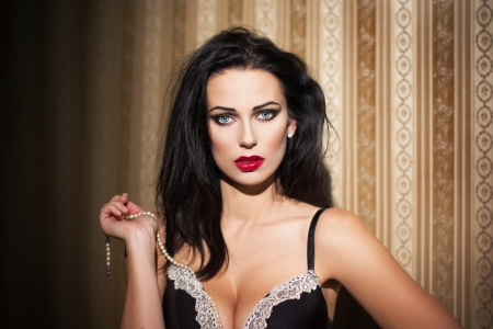 Sexy woman at night, portrait photo