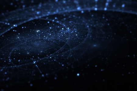 gravity: Deep space with trajectories, fractal background