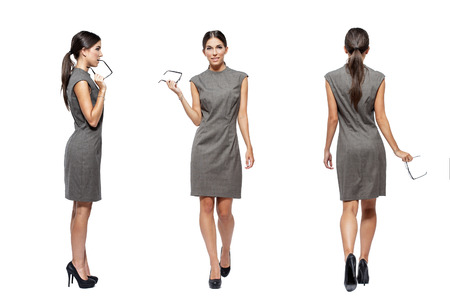 tied: Businesswoman front, back, side view, isolated