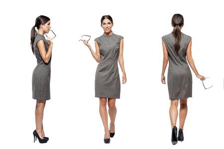 gefesselt: Geschäftsfrau vorne, hinten, Seitenansicht, isoliert