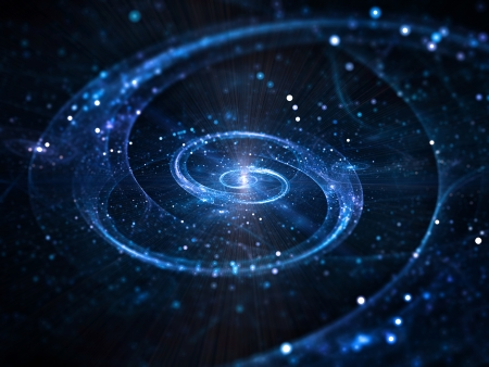 Spiral galaxy in deep space, abstract