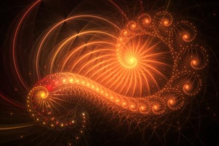 golden ratio: Golden ratio, orange spirals, computer generated background