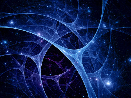 neuron: Connections in the space, abstract fractal computer generated background