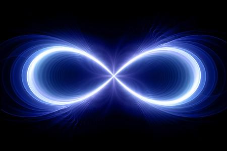 signo infinito: Signo del infinito, generada por ordenador fractal de fondo
