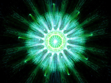 fission: Green particle fission, computer generated fractal background