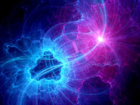 다채로운 웜홀 공간에서, 컴퓨터는 프랙탈 배경